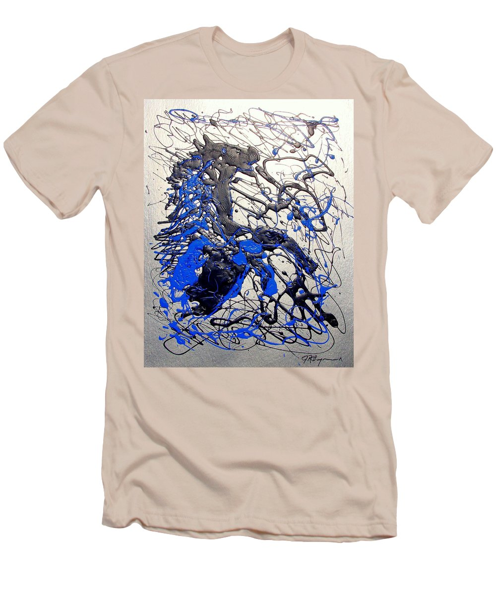 Stallion Horse Men's T-Shirt (Slim Fit) featuring the painting Azul Diablo by J R Seymour