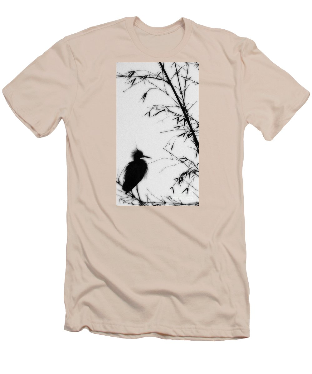 Egret Men's T-Shirt (Athletic Fit) featuring the photograph Baby Egret Waits by Linda Shafer