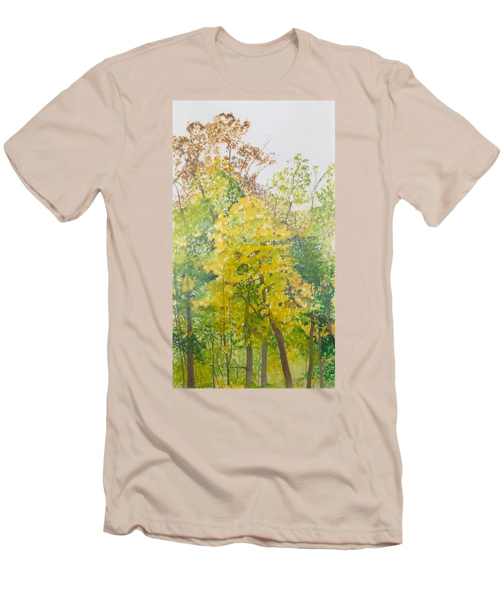 Autumn Men's T-Shirt (Slim Fit) featuring the painting Backyard by Leah Tomaino