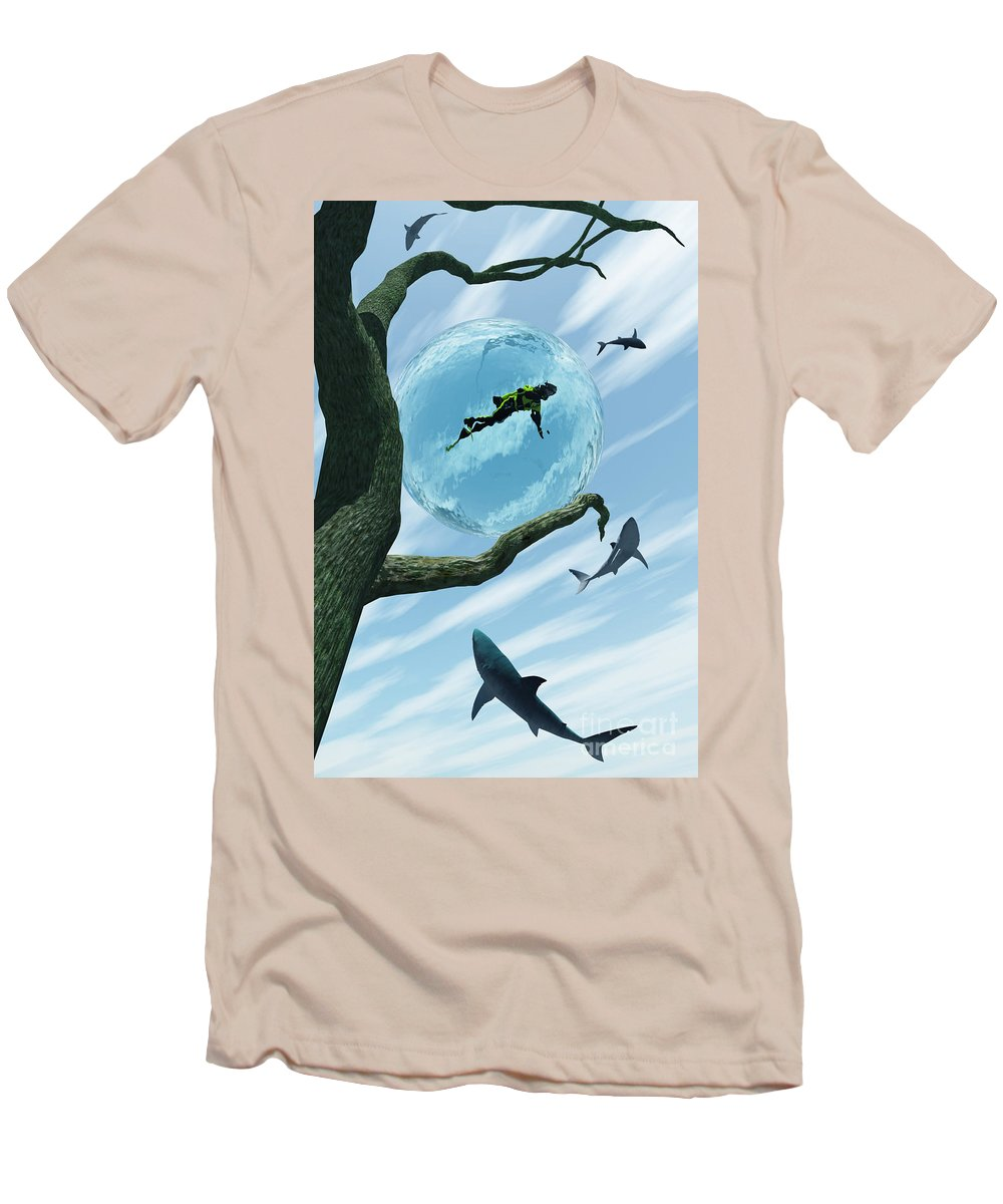 Surreal Men's T-Shirt (Athletic Fit) featuring the digital art Bait by Richard Rizzo
