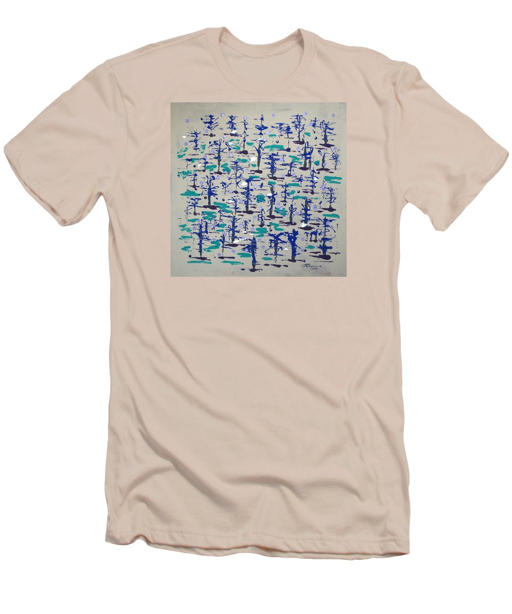 Abstract Men's T-Shirt (Athletic Fit) featuring the painting Bare Trees by J R Seymour