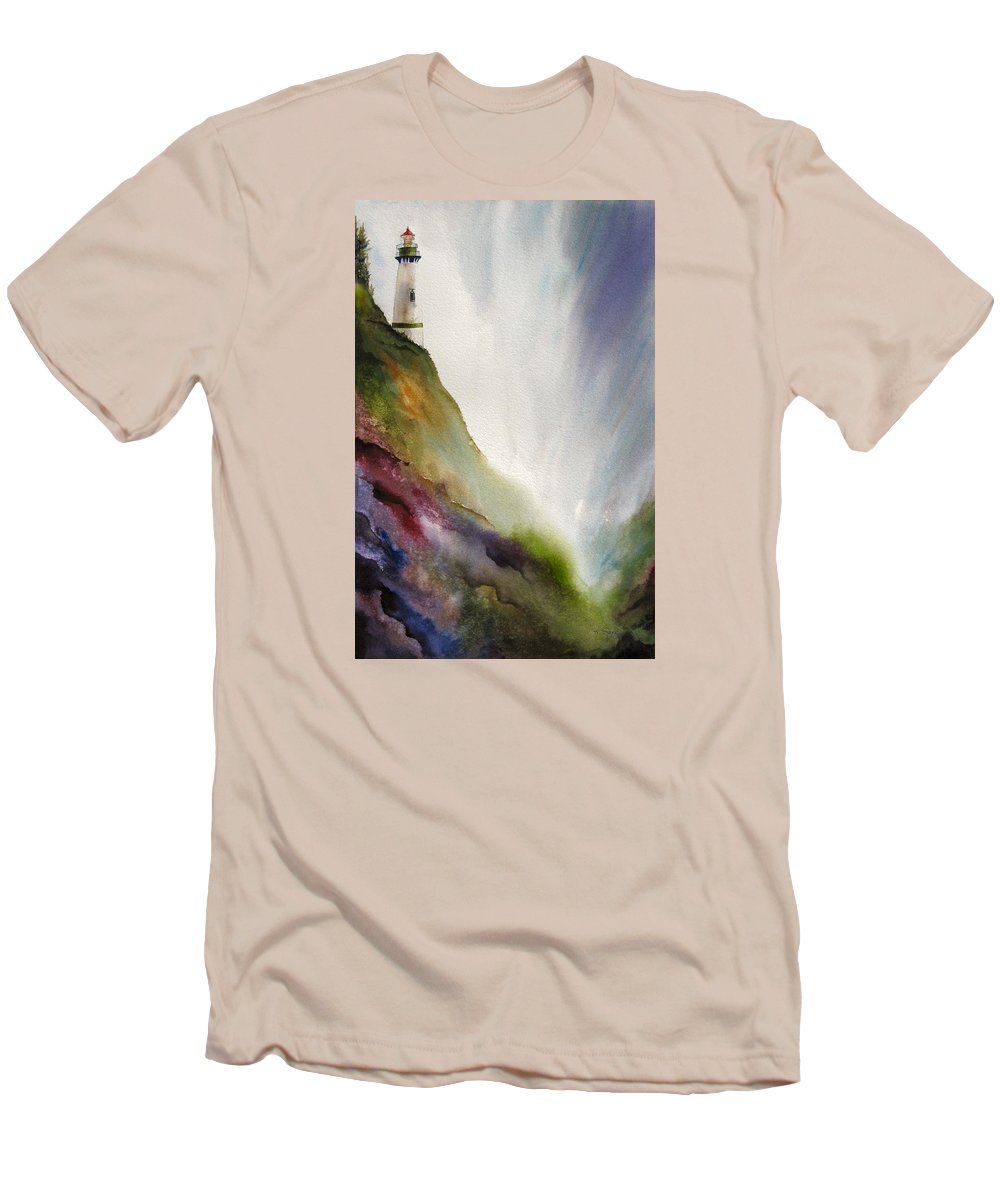 Lighthouse Men's T-Shirt (Athletic Fit) featuring the painting Beacon by Karen Stark