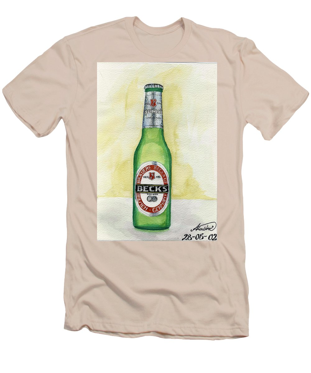 Botle Men's T-Shirt (Athletic Fit) featuring the painting Becks by Alban Dizdari