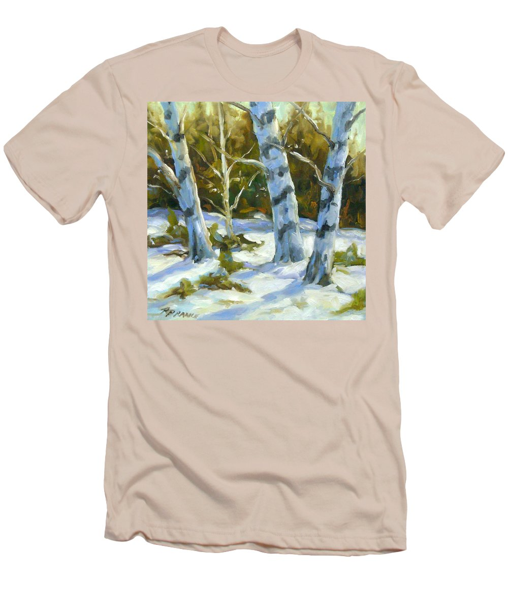 Art Men's T-Shirt (Athletic Fit) featuring the painting Big Birches In Winter by Richard T Pranke