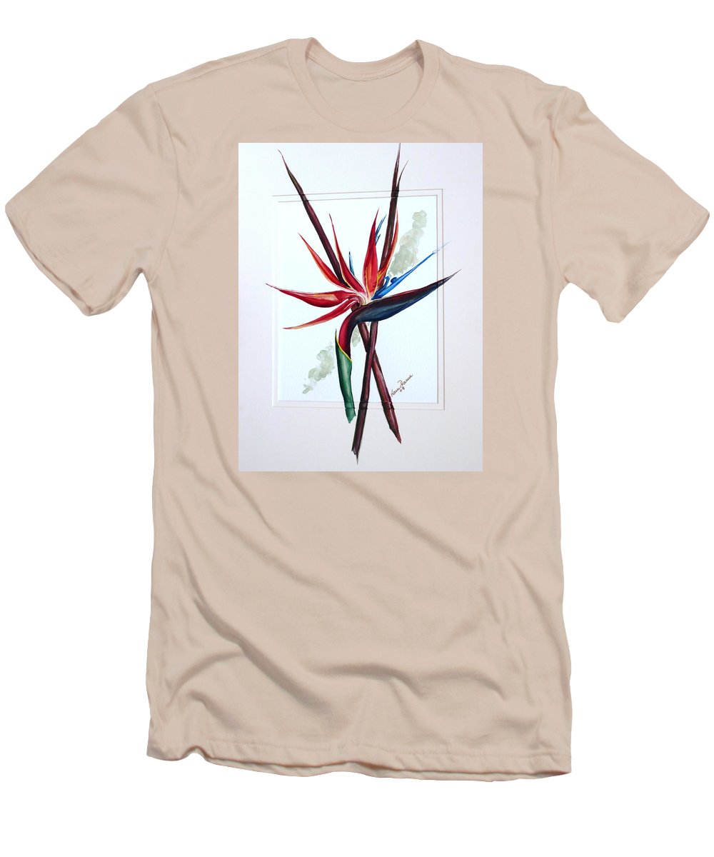 Floral Tropical Caribbean Flower Men's T-Shirt (Athletic Fit) featuring the painting Bird Of Paradise Lily by Karin Dawn Kelshall- Best