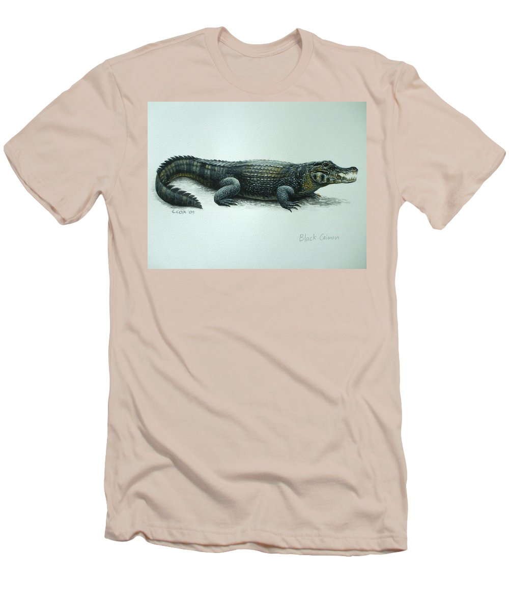 Black Caiman Men's T-Shirt (Athletic Fit) featuring the painting Black Caiman by Christopher Cox