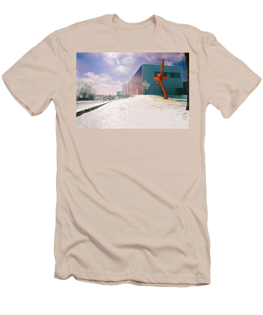 Landscape Men's T-Shirt (Athletic Fit) featuring the photograph Bloch Building At The Nelson Atkins Museum by Steve Karol