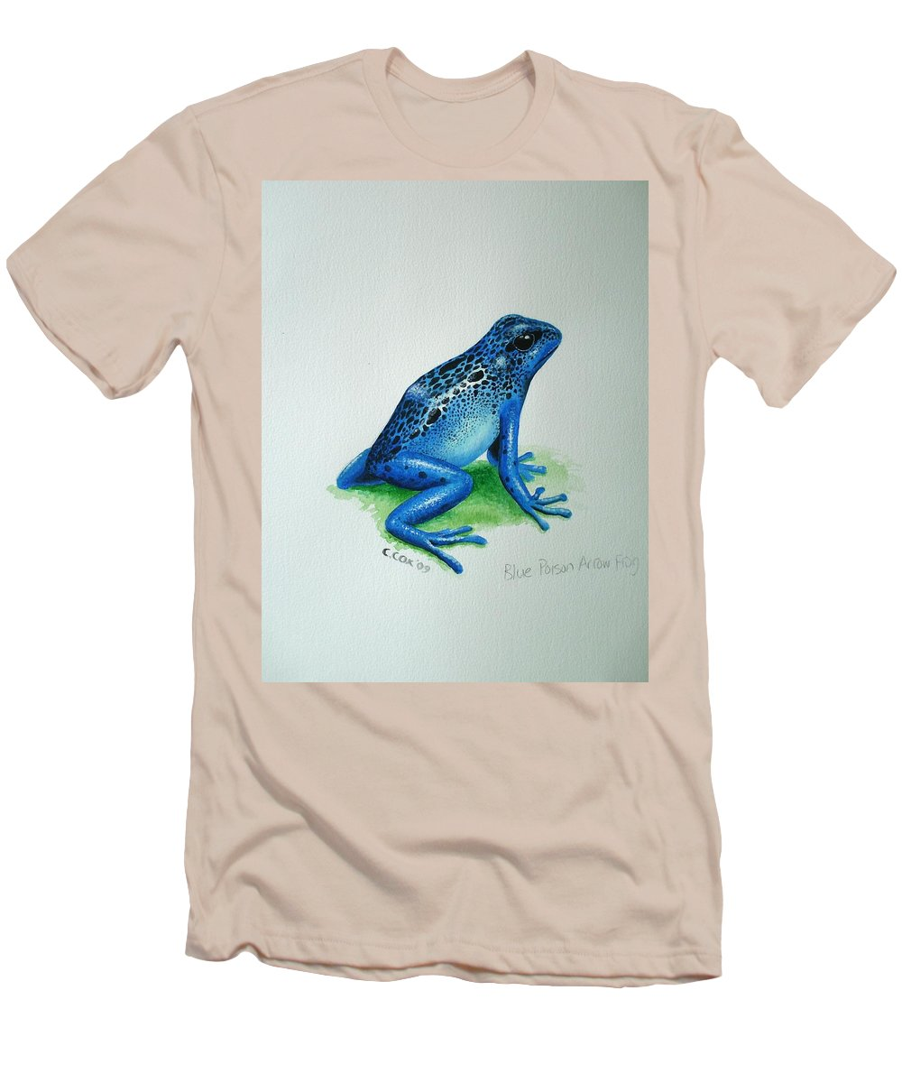 Poison Arrow Frog Men's T-Shirt (Athletic Fit) featuring the painting Blue Poison Arrow Frog by Christopher Cox