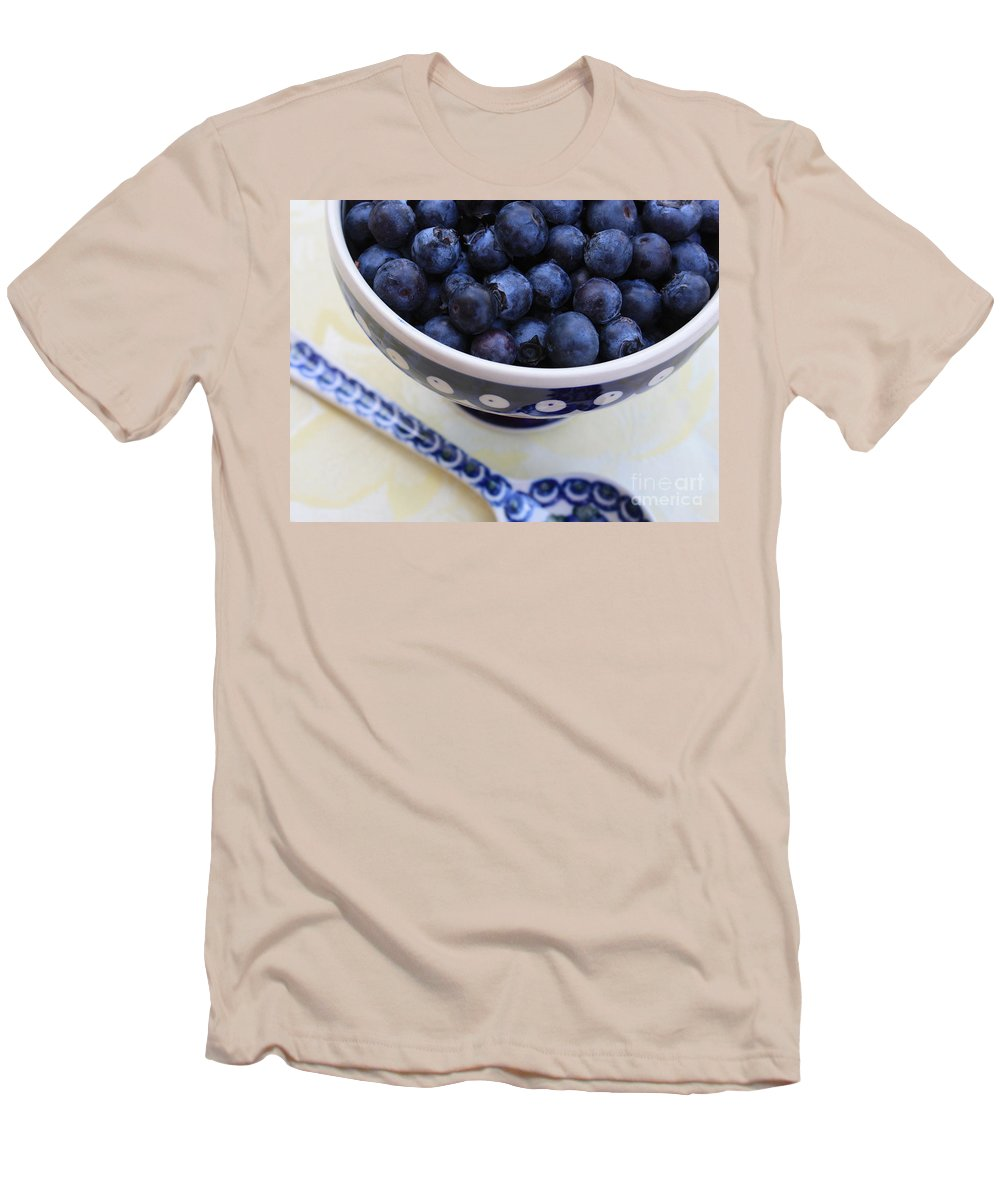 Food Men's T-Shirt (Athletic Fit) featuring the photograph Blueberries In Polish Pottery Bowl by Carol Groenen