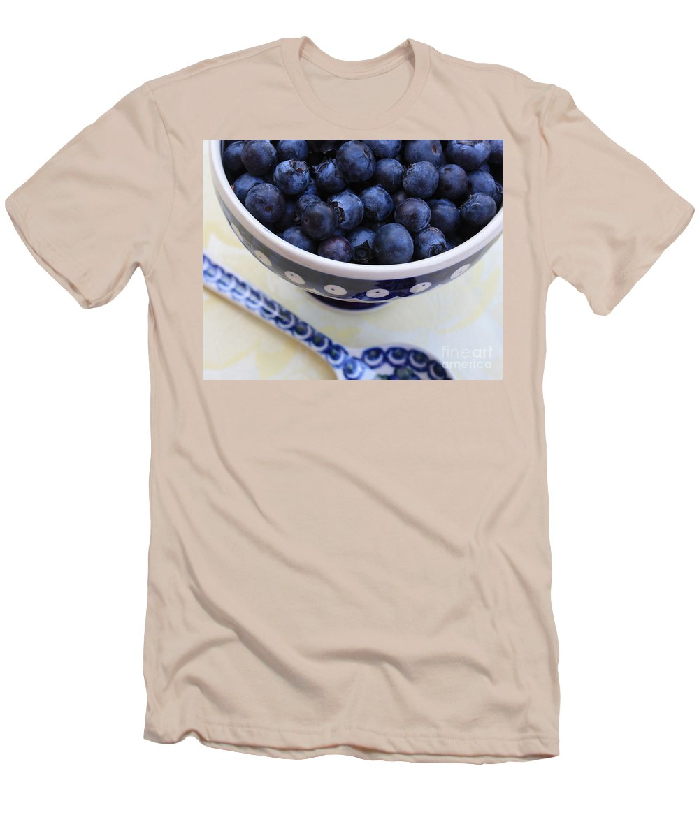 Food Men's T-Shirt (Athletic Fit) featuring the photograph Blueberries With Spoon by Carol Groenen