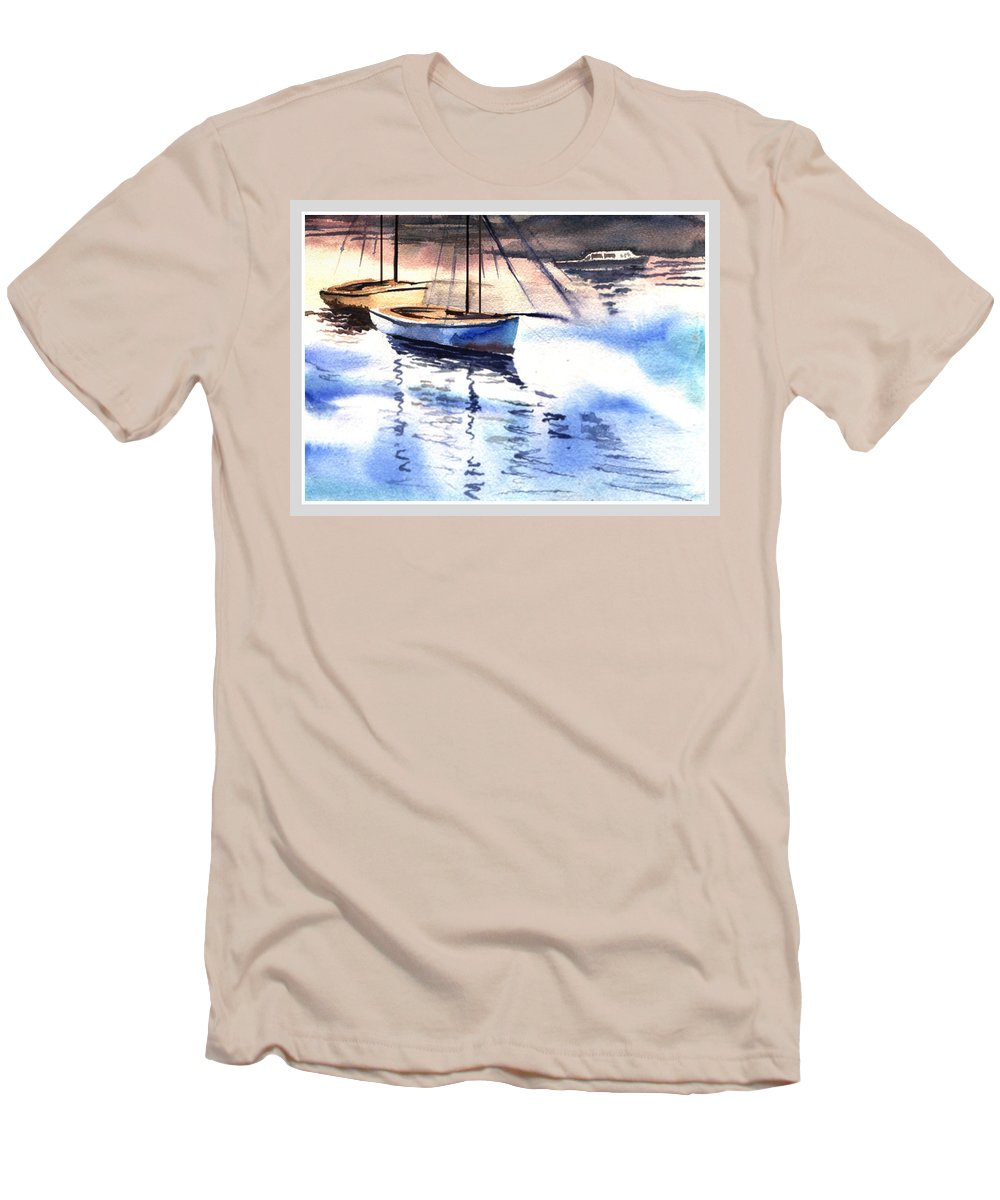 Watercolor Men's T-Shirt (Athletic Fit) featuring the painting Boat And The River by Anil Nene