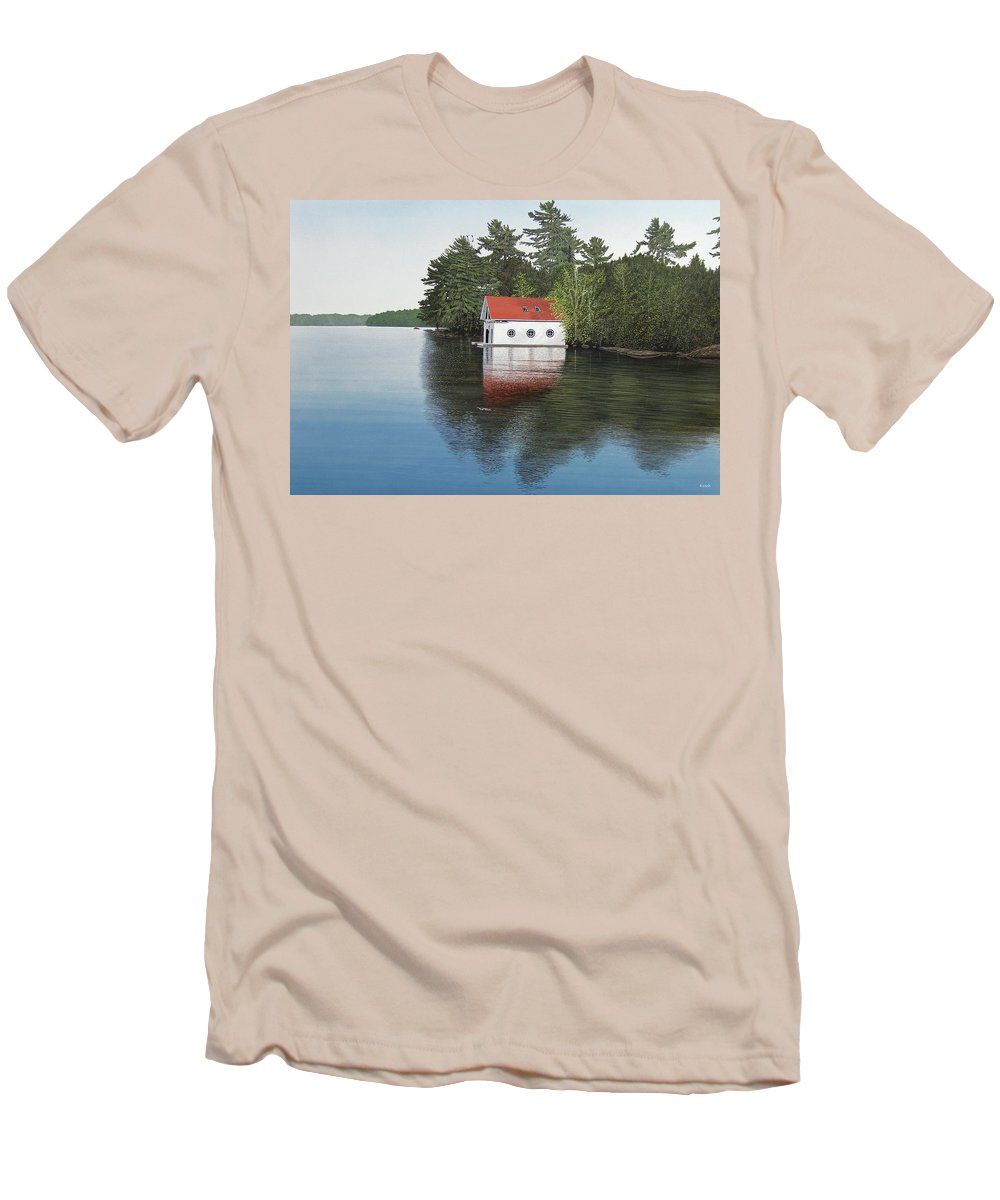 Canoe Men's T-Shirt (Athletic Fit) featuring the painting Boathouse by Kenneth M Kirsch