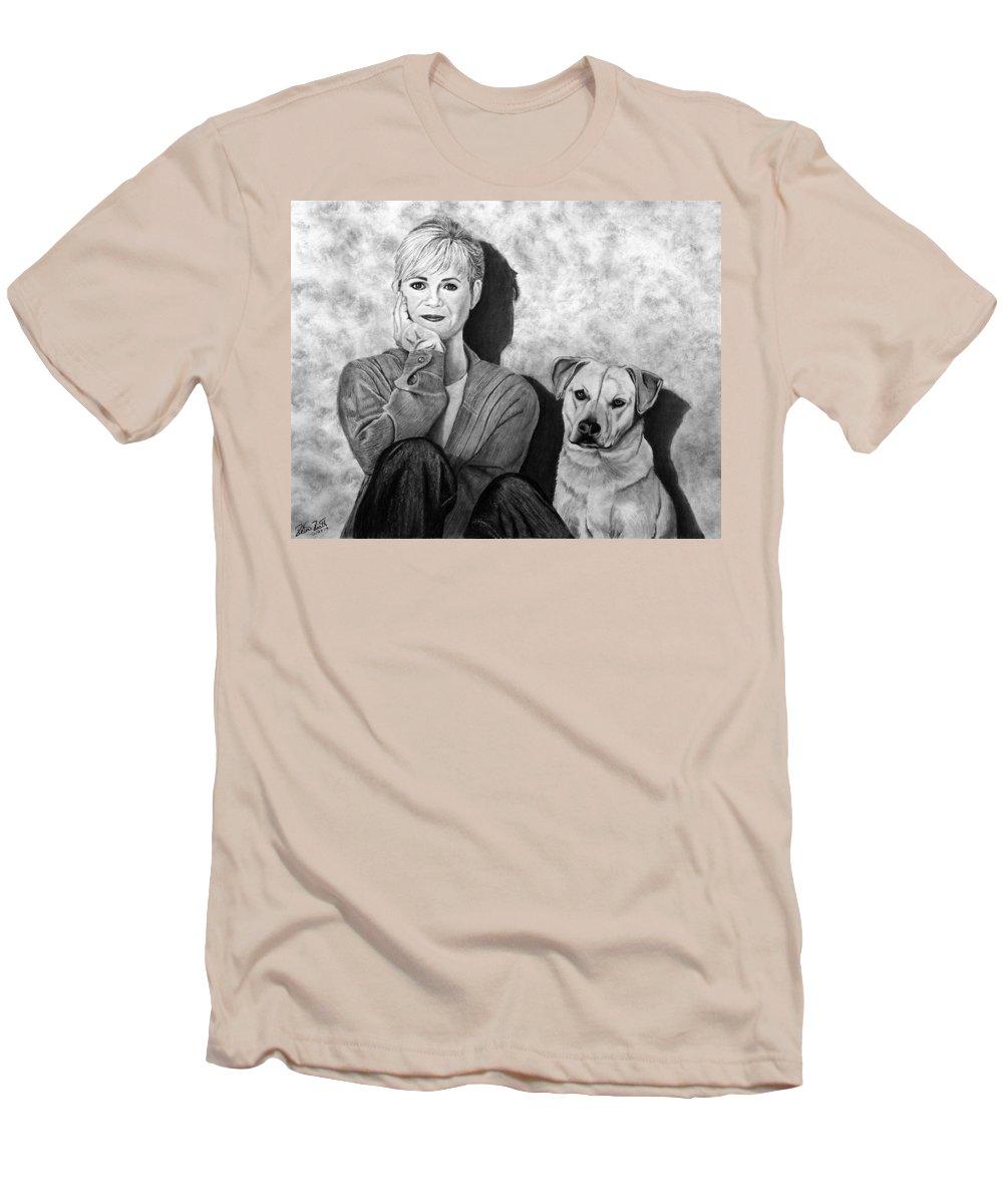 Bonnie Hunt And Charlie Men's T-Shirt (Athletic Fit) featuring the drawing Bonnie Hunt And Charlie by Peter Piatt