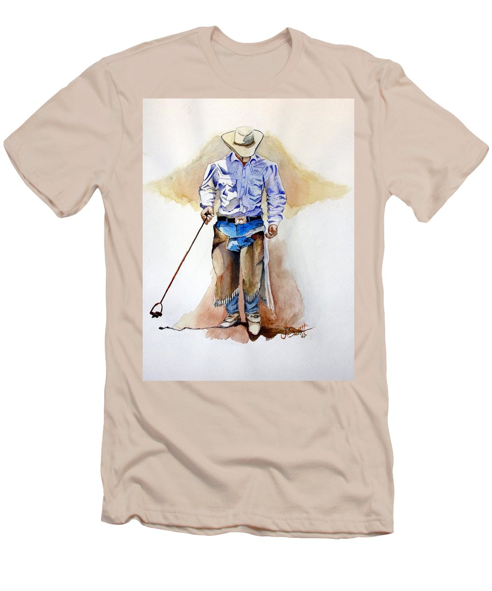 Western Men's T-Shirt (Athletic Fit) featuring the painting Branding Blisters by Jimmy Smith