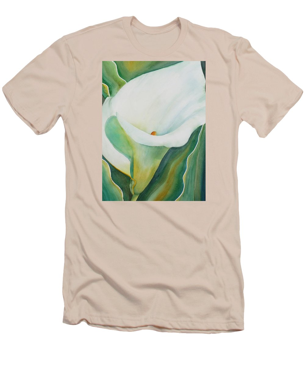Flower Men's T-Shirt (Athletic Fit) featuring the painting Calla Lily by Ruth Kamenev