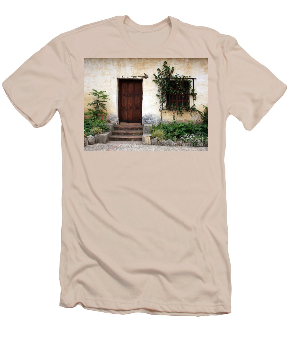 Carmel Mission Men's T-Shirt (Athletic Fit) featuring the photograph Carmel Mission Door by Carol Groenen
