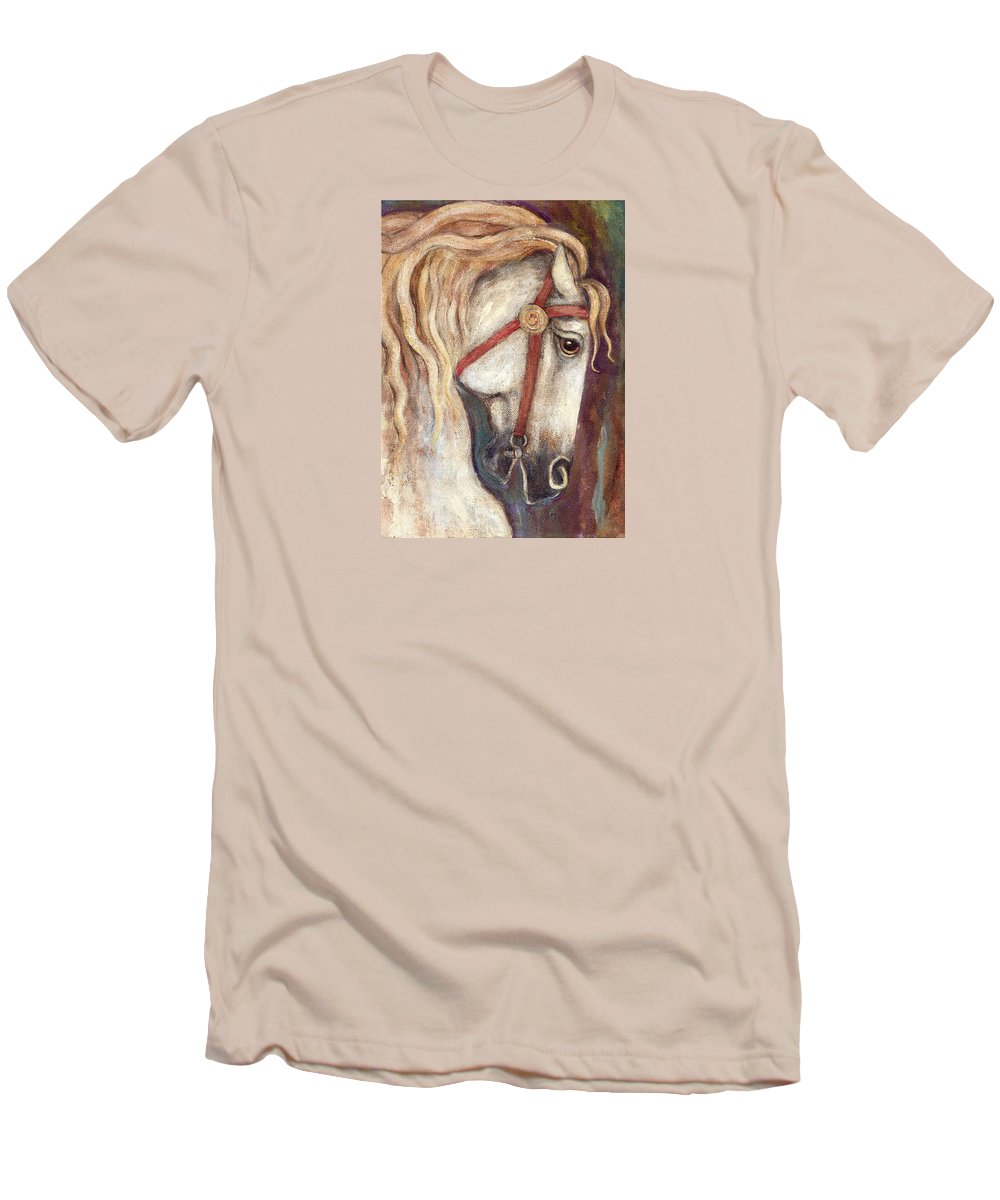 Horse Painting Men's T-Shirt (Athletic Fit) featuring the painting Carousel Horse Painting by Frances Gillotti