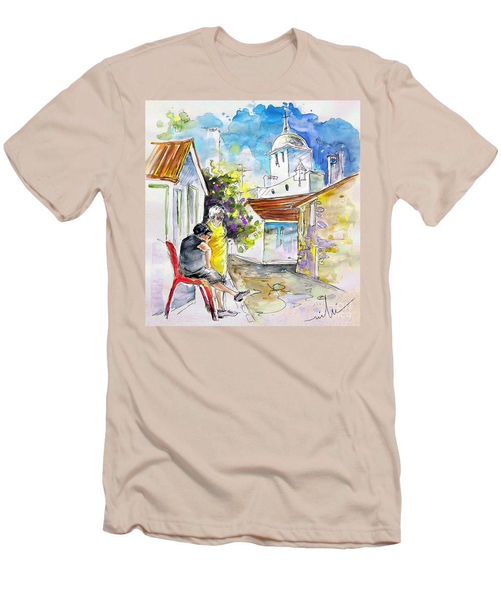 Water Colour Travel Sketch Castro Marim Portugal Algarve Miki Men's T-Shirt (Athletic Fit) featuring the painting Castro Marim Portugal 04 by Miki De Goodaboom