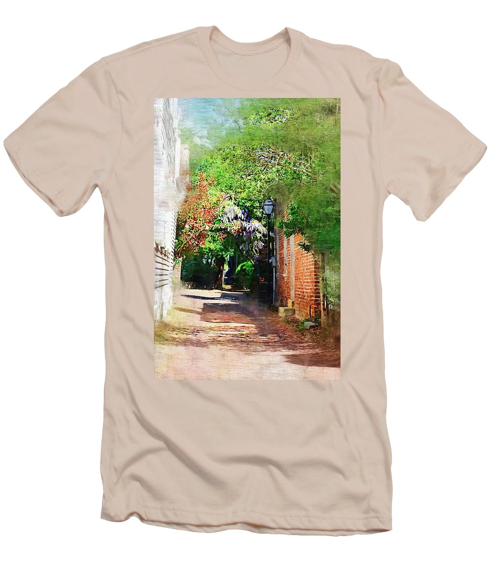 Alley Men's T-Shirt (Athletic Fit) featuring the photograph Charlestons Alley by Donna Bentley