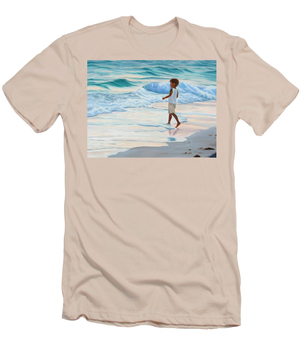 Child Men's T-Shirt (Athletic Fit) featuring the painting Chasing The Waves by Lea Novak