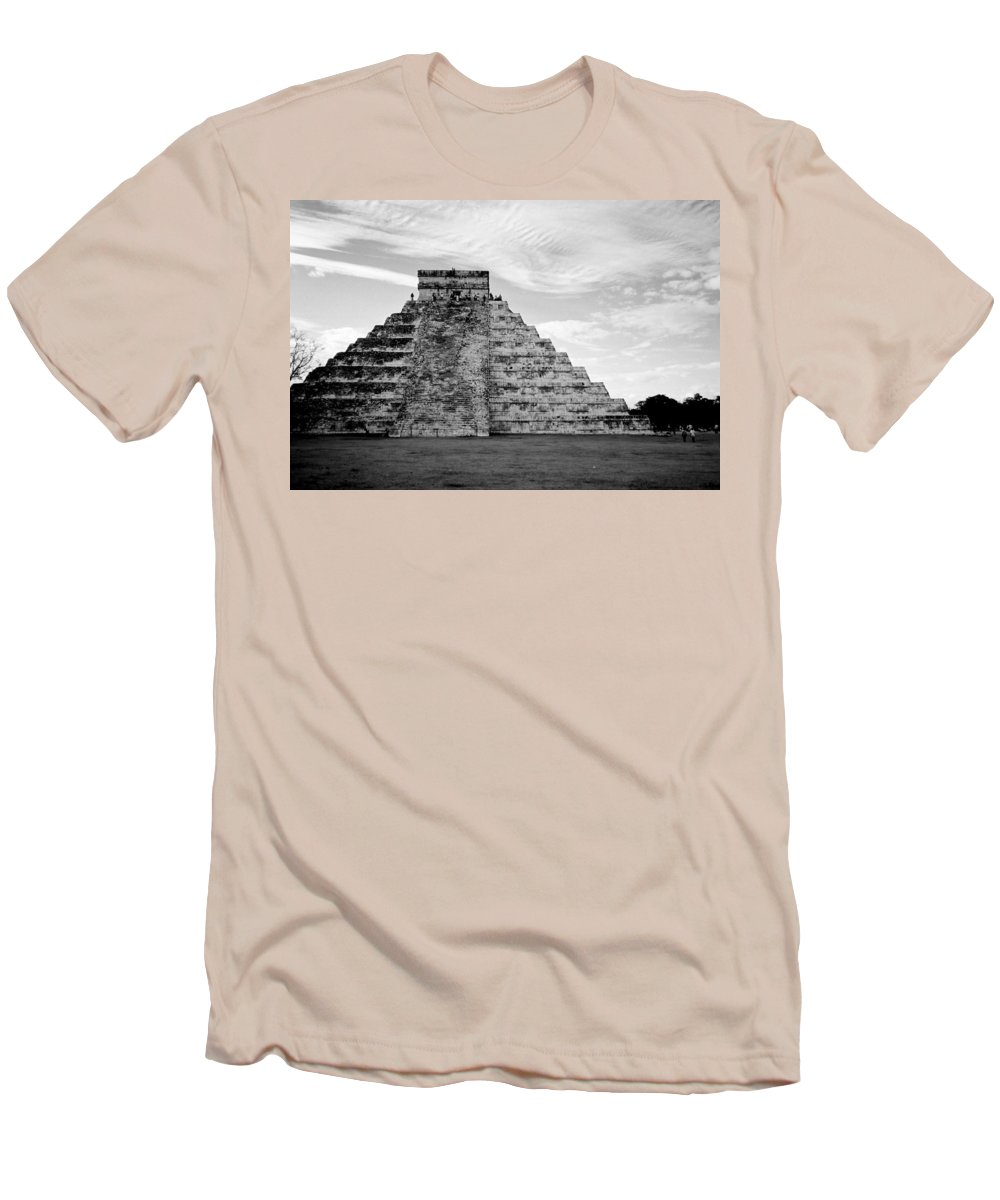 Mexico Men's T-Shirt (Athletic Fit) featuring the photograph Chichen Itza B-w by Anita Burgermeister