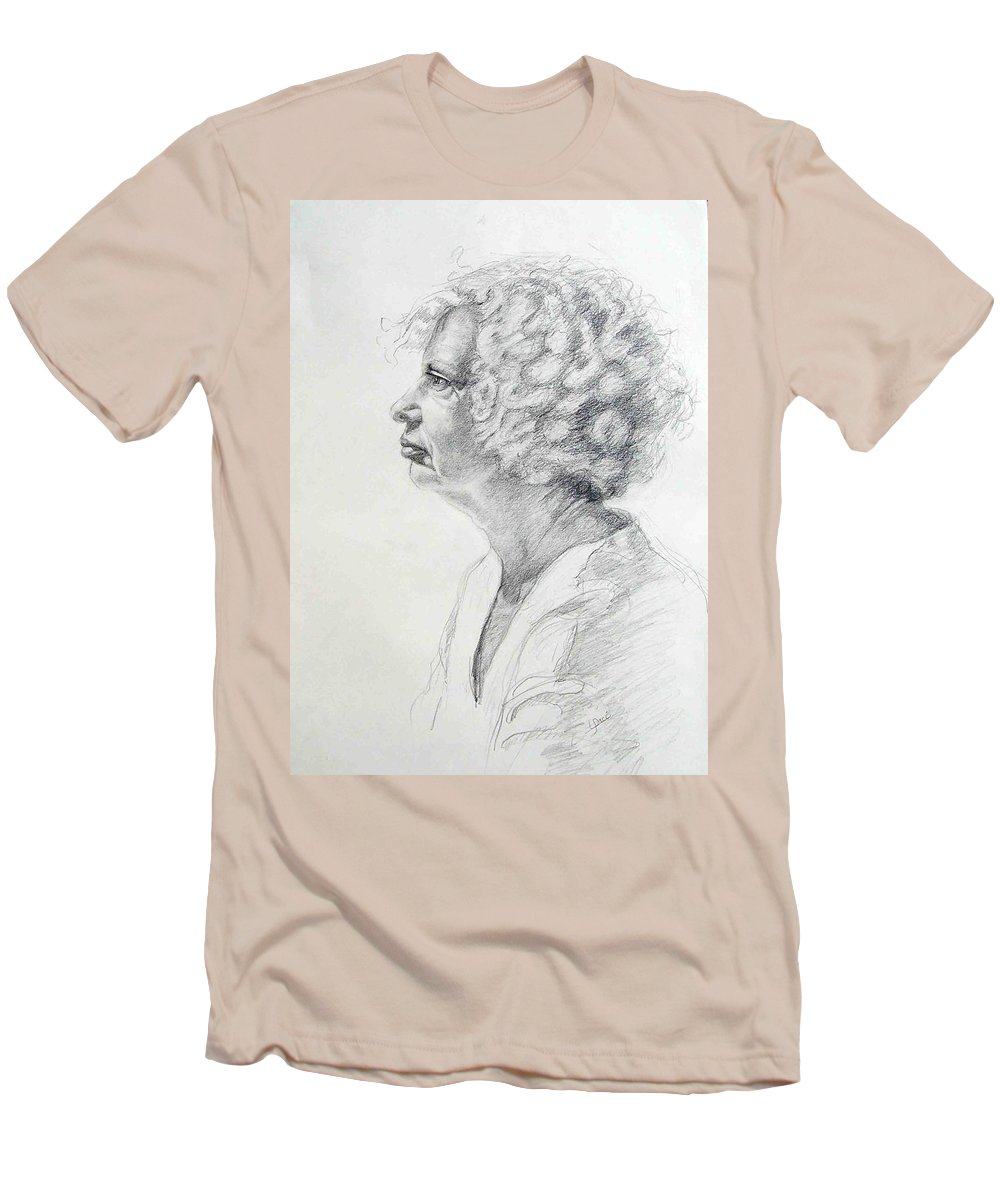 Portrait Men's T-Shirt (Athletic Fit) featuring the drawing Claire by Laurie Paci