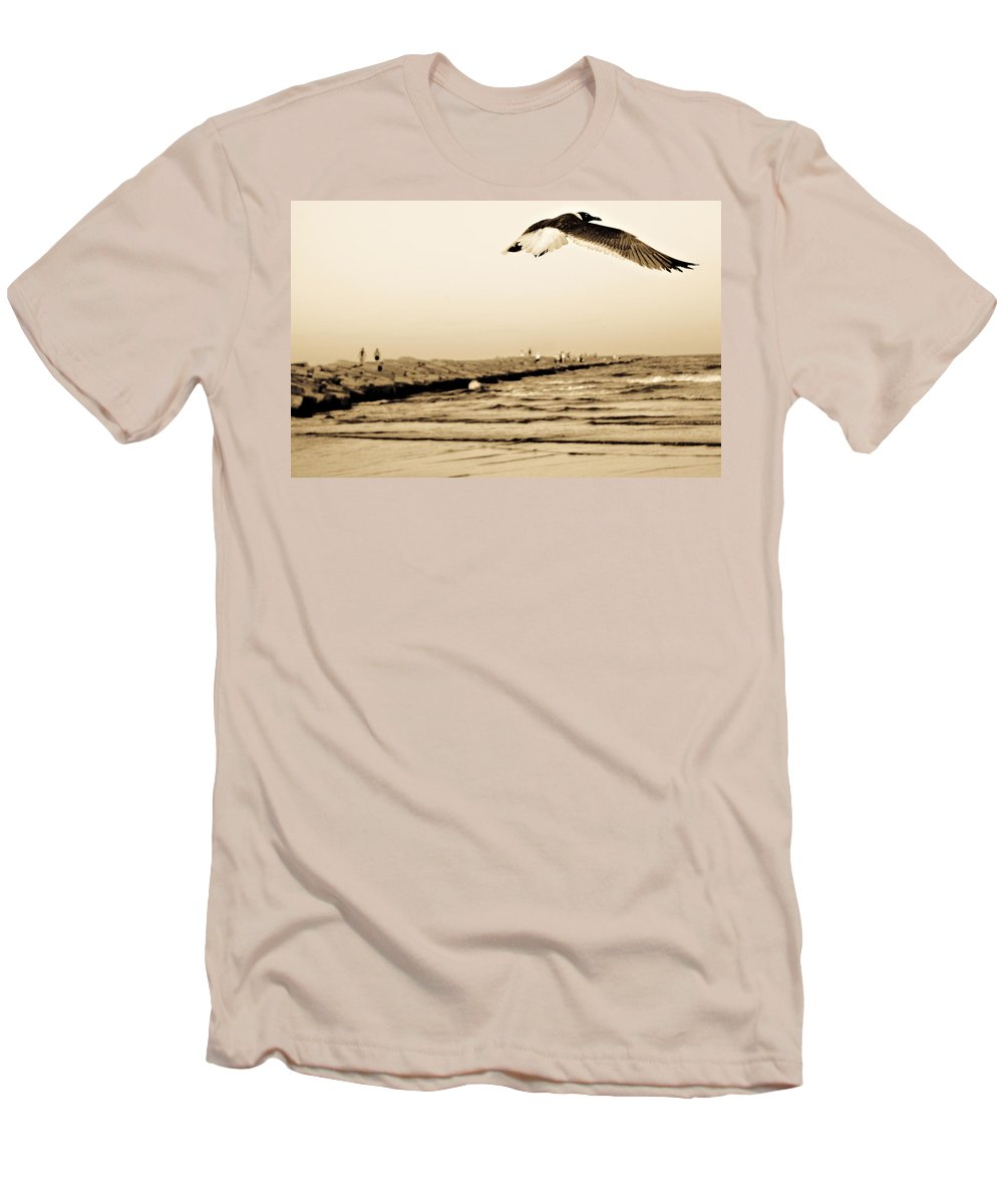 Bird Men's T-Shirt (Athletic Fit) featuring the photograph Coastal Bird In Flight by Marilyn Hunt