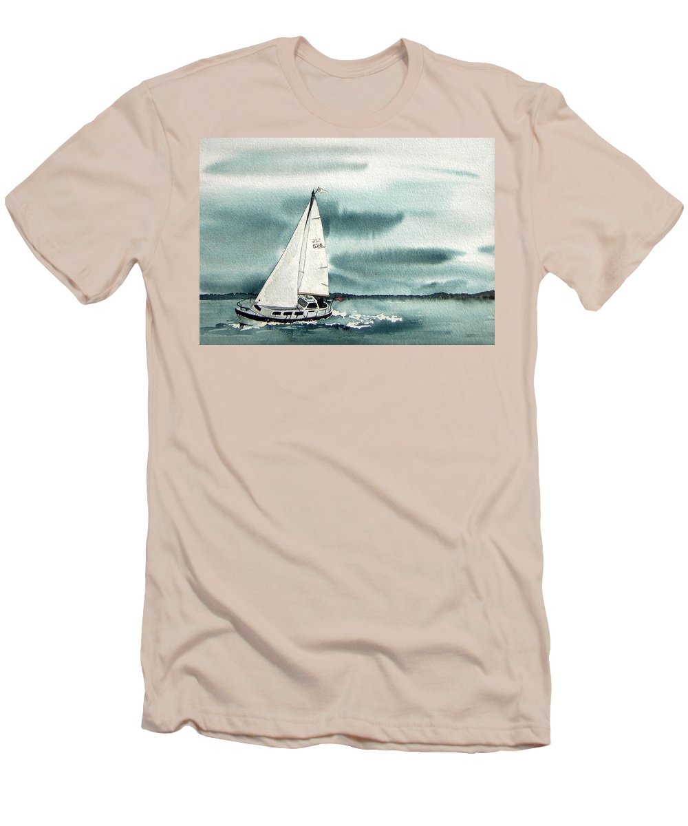 Sailing Men's T-Shirt (Athletic Fit) featuring the painting Cool Sail by Gale Cochran-Smith