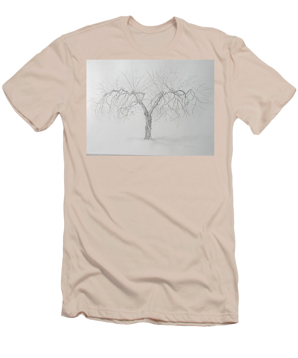 Cortland Apple Tree Men's T-Shirt (Slim Fit) featuring the drawing Cortland Apple by Leah Tomaino
