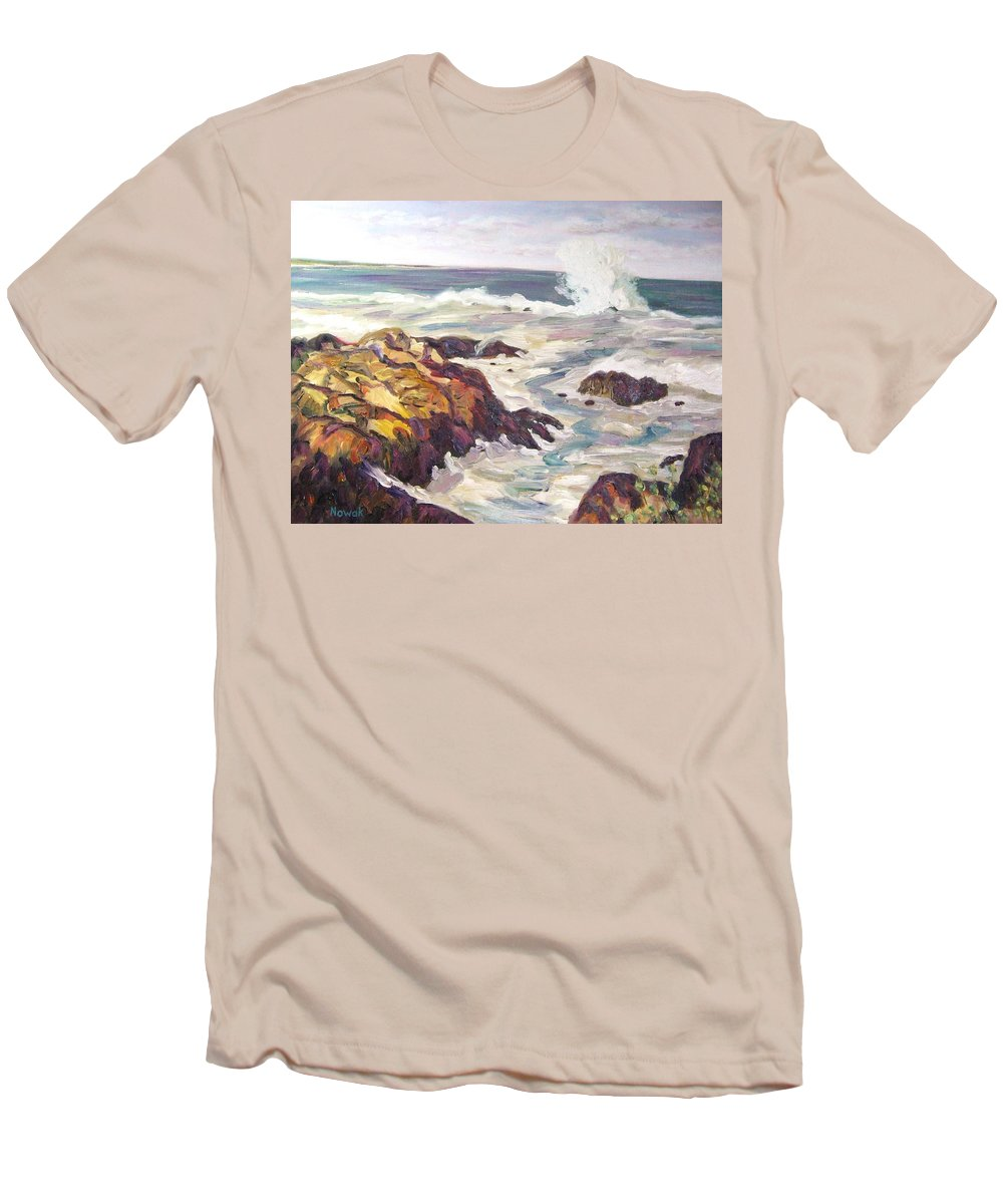 Water Men's T-Shirt (Athletic Fit) featuring the painting Crashing Wave On Maine Coast by Richard Nowak