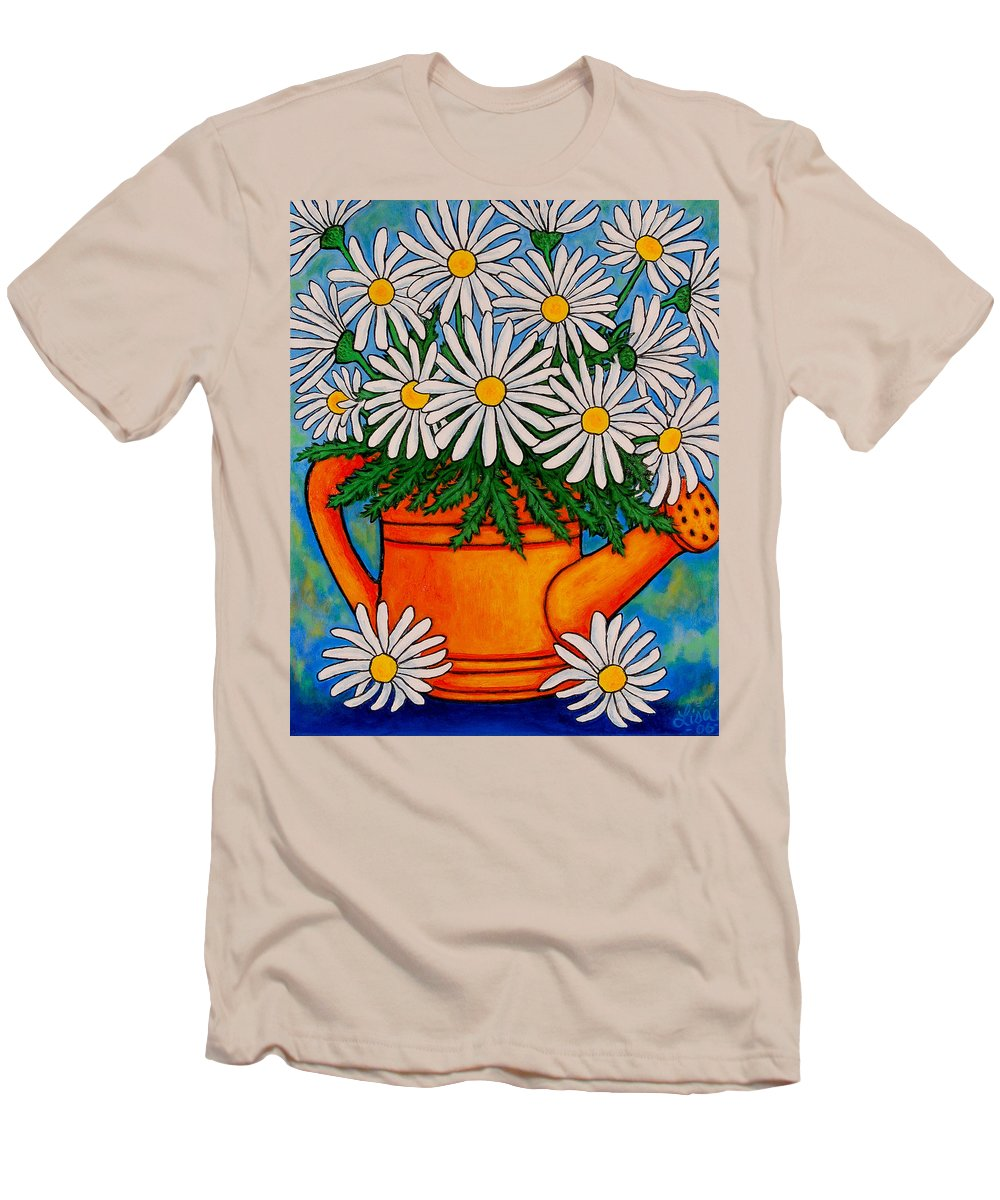 Daisies Men's T-Shirt (Athletic Fit) featuring the painting Crazy For Daisies by Lisa Lorenz