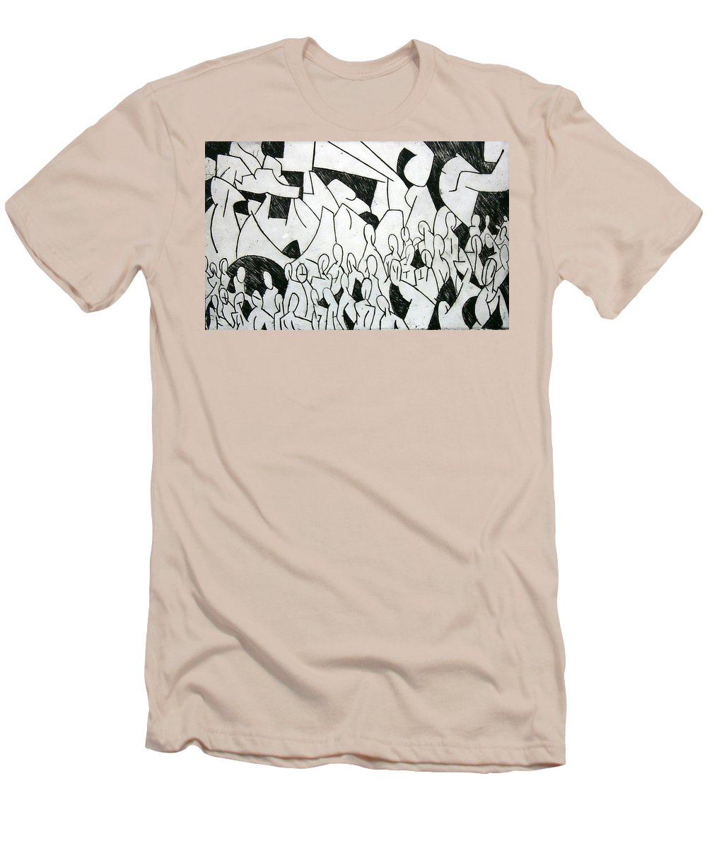Etching Men's T-Shirt (Athletic Fit) featuring the print Crowd by Thomas Valentine