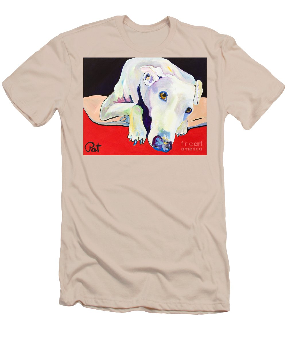 Animals Pets Greyhound Men's T-Shirt (Athletic Fit) featuring the painting Cyrus by Pat Saunders-White