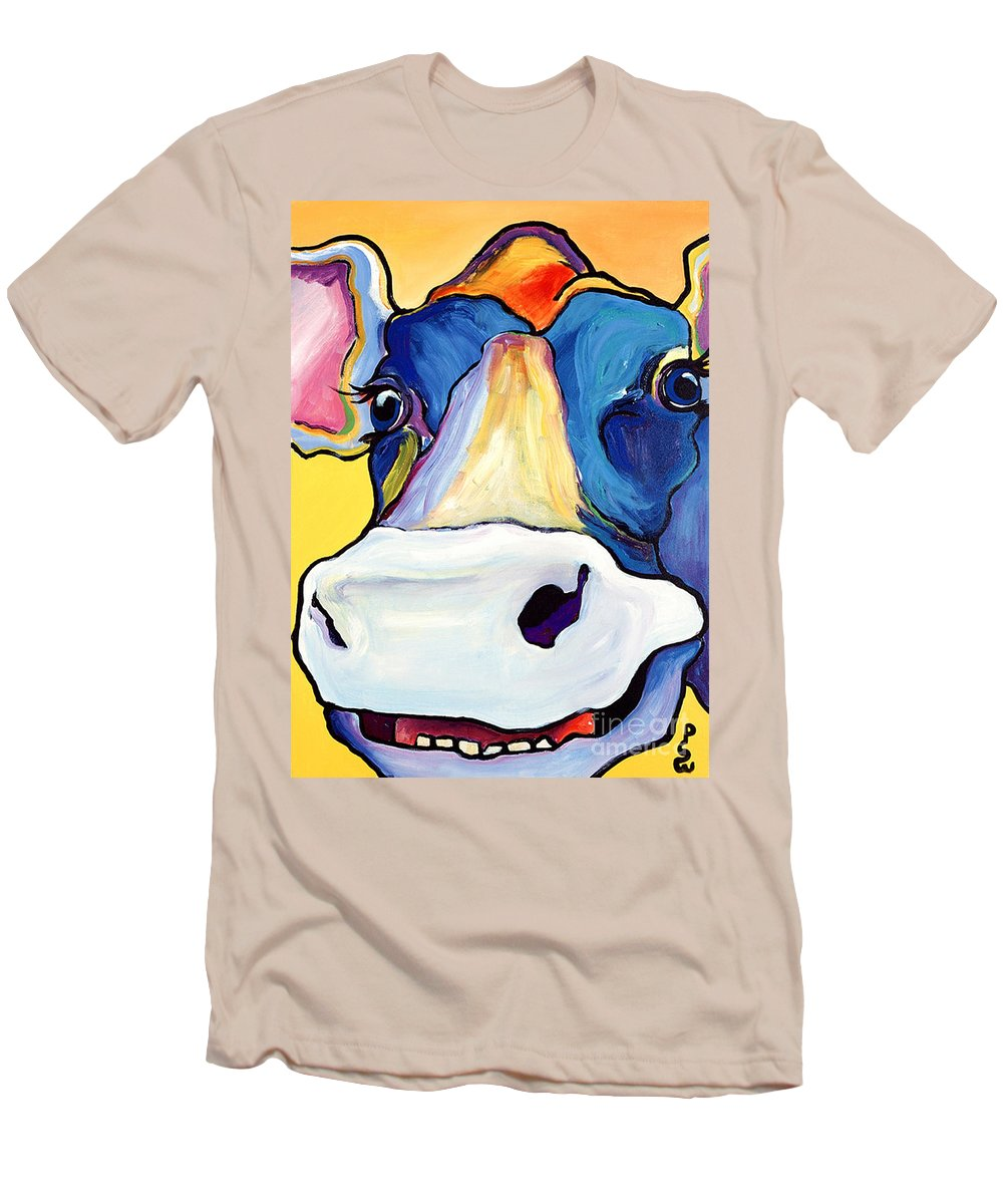 Cow Print Men's T-Shirt (Athletic Fit) featuring the painting Dairy Queen I  by Pat Saunders-White