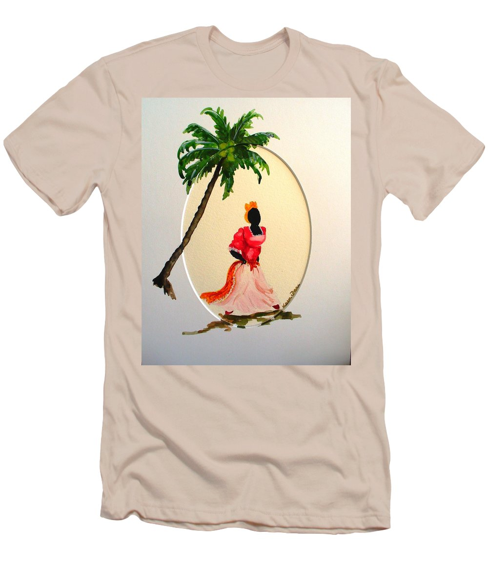 Caribbean Dancer Men's T-Shirt (Athletic Fit) featuring the painting Dancer 1 by Karin Dawn Kelshall- Best