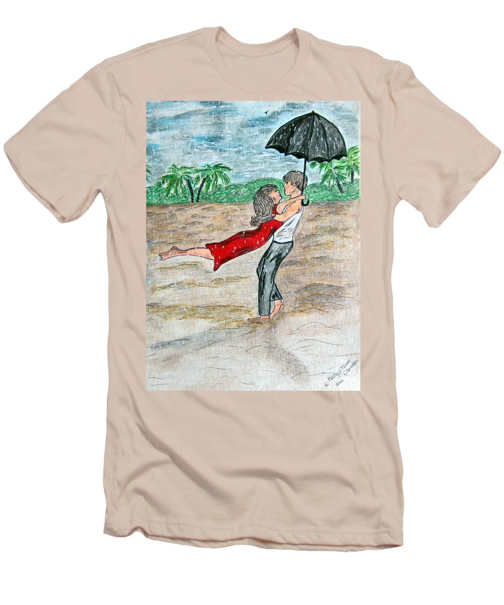 Dancing Men's T-Shirt (Athletic Fit) featuring the painting Dancing In The Rain On The Beach by Kathy Marrs Chandler
