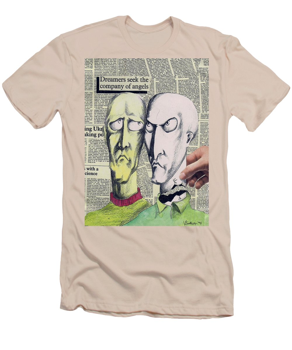 Dreamers Angels Faces Men's T-Shirt (Athletic Fit) featuring the mixed media Dreamers by Veronica Jackson