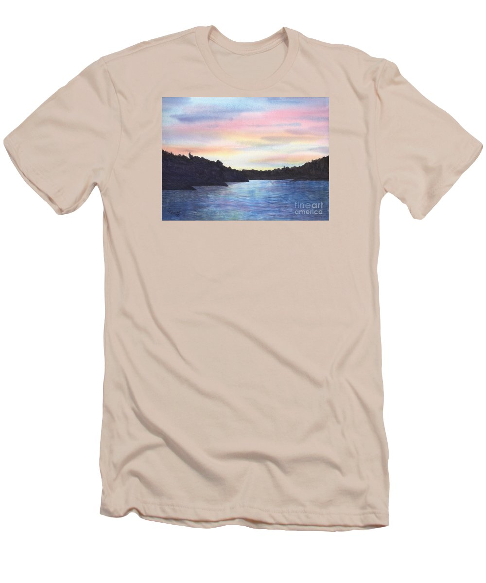 Sunset Men's T-Shirt (Athletic Fit) featuring the painting Evening Silhouette by Lynn Quinn