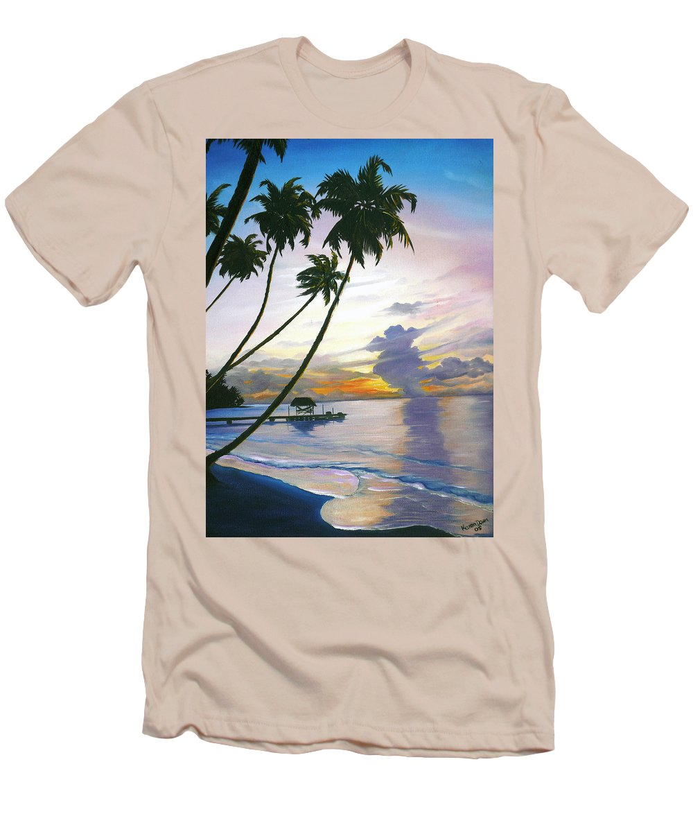 Ocean Painting Seascape Painting Beach Painting Sunset Painting Tropical Painting Tropical Painting Palm Tree Painting Tobago Painting Caribbean Painting Original Oil Of The Sun Setting Over Pigeon Point Tobago Men's T-Shirt (Athletic Fit) featuring the painting Eventide Tobago by Karin Dawn Kelshall- Best