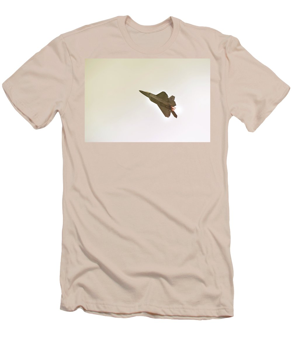 Airplane Men's T-Shirt (Athletic Fit) featuring the photograph F-22 Raptor by Sebastian Musial