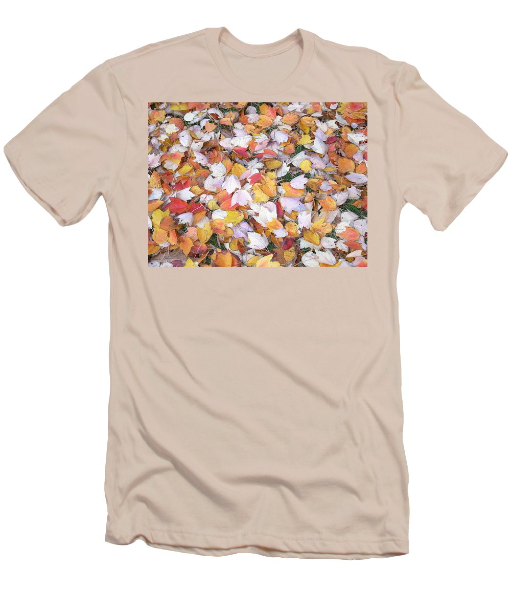Photography Fall Autum Leaves Men's T-Shirt (Athletic Fit) featuring the photograph Fallen Fantasy by Karin Dawn Kelshall- Best