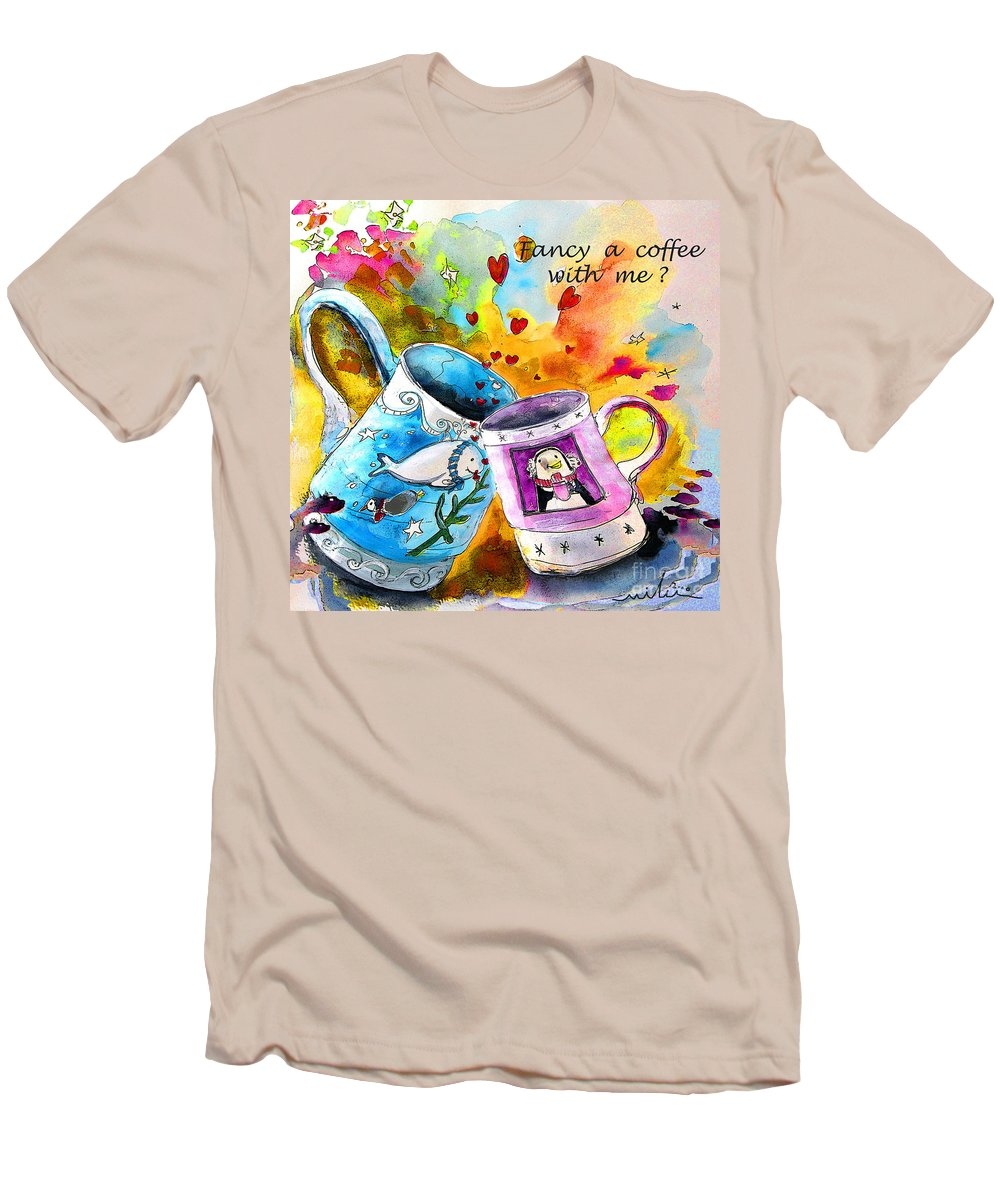 Cafe Crem Men's T-Shirt (Athletic Fit) featuring the painting Fancy A Coffee by Miki De Goodaboom