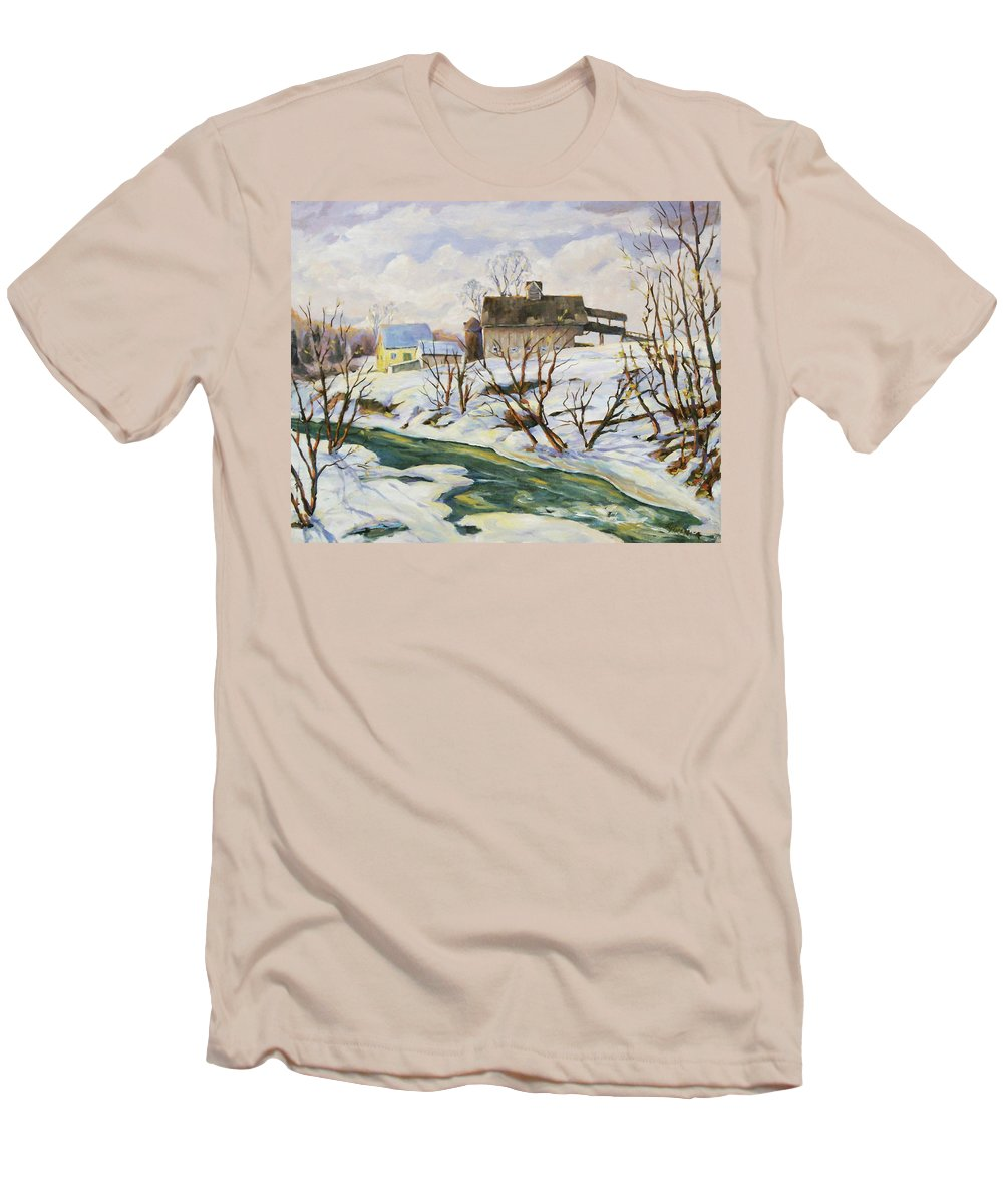 Farm Men's T-Shirt (Athletic Fit) featuring the painting Farm In Winter by Richard T Pranke