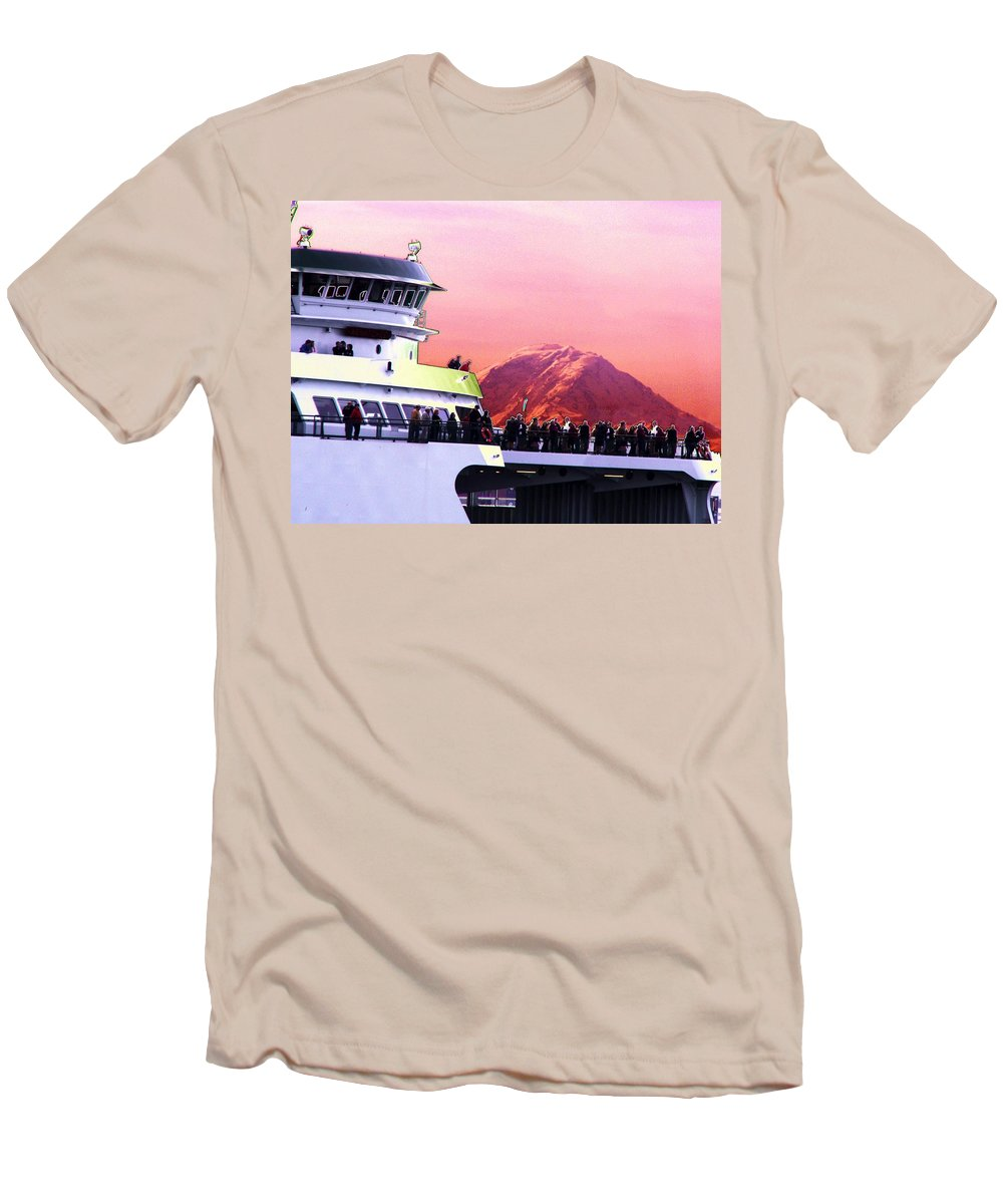 Seattle Men's T-Shirt (Athletic Fit) featuring the digital art Ferry And Da Mountain by Tim Allen