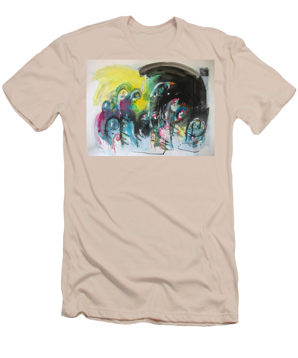 Fiddleheads Painting Men's T-Shirt (Athletic Fit) featuring the painting Fiddleheads 105- Original Abstract Colorful Landscape Painting For Sale Red Blue Green by Seon-Jeong Kim