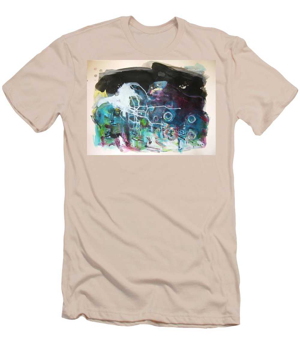 Fiddleheads Paintings Men's T-Shirt (Athletic Fit) featuring the painting Fiddleheads 300 by Seon-Jeong Kim