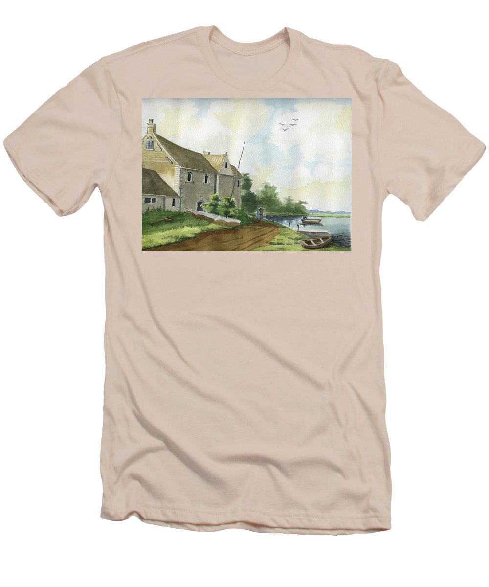 Lake Men's T-Shirt (Athletic Fit) featuring the painting Fishing Lake by Alban Dizdari