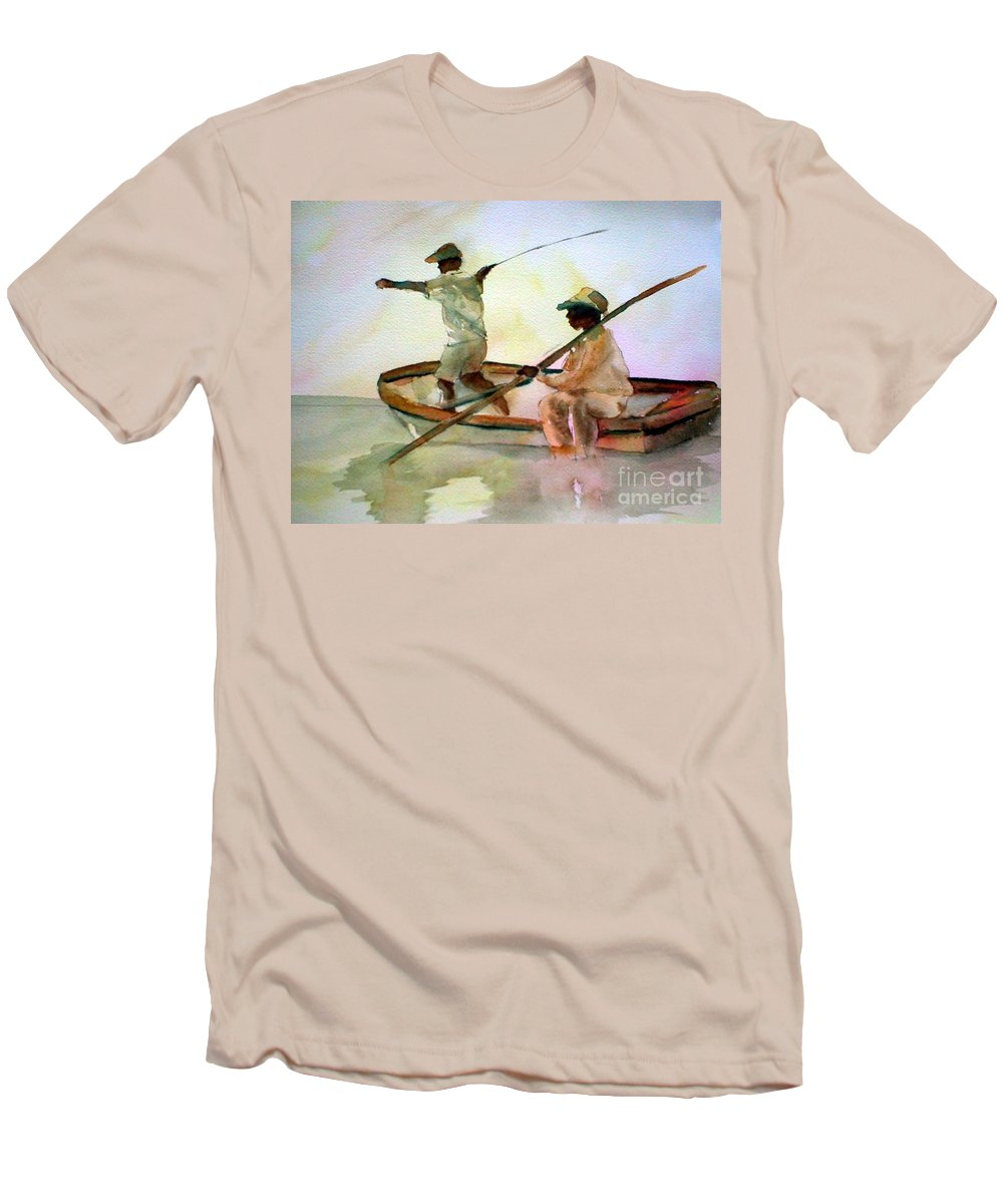 Fishing Men's T-Shirt (Athletic Fit) featuring the painting Fishing by Rhonda Hancock