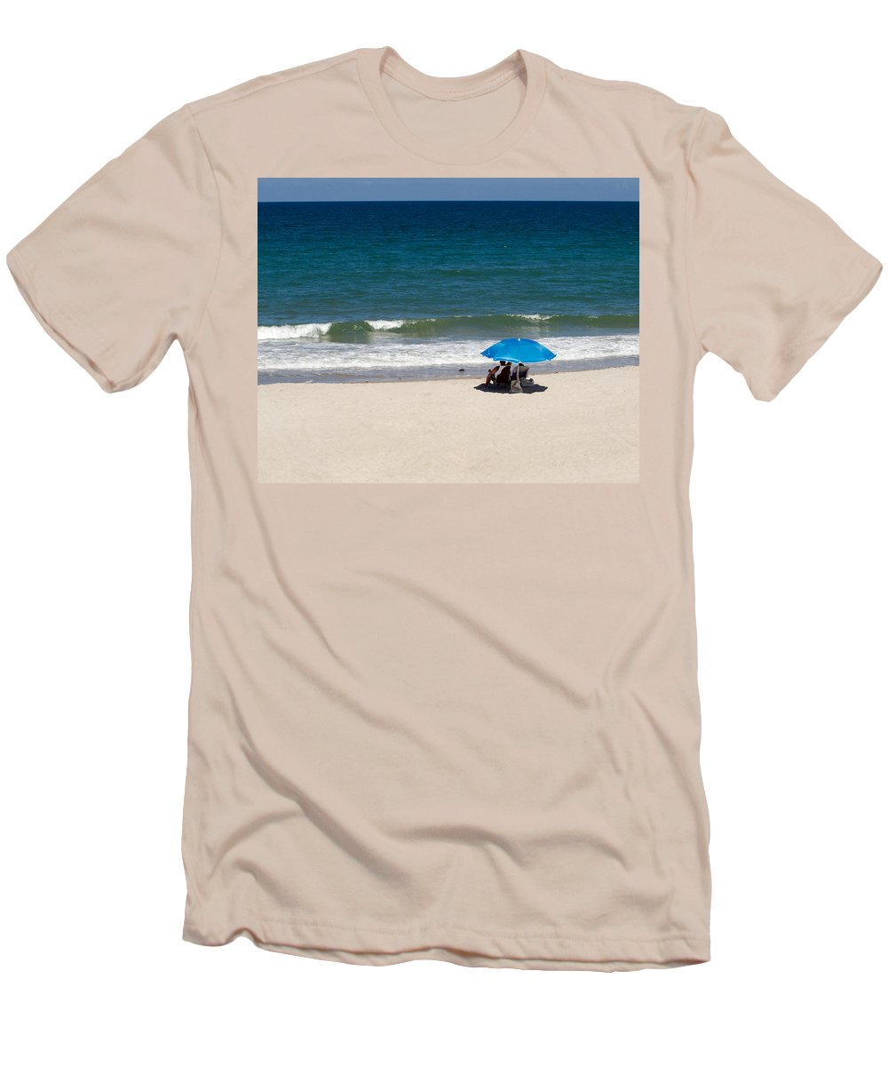 Florida; Beach; Summer; Ocean; Sea; Shore; Coast; Sand; Sandy; Waves; Surf; People; Umbrella; Swim; Men's T-Shirt (Athletic Fit) featuring the photograph Florida Summer by Allan Hughes