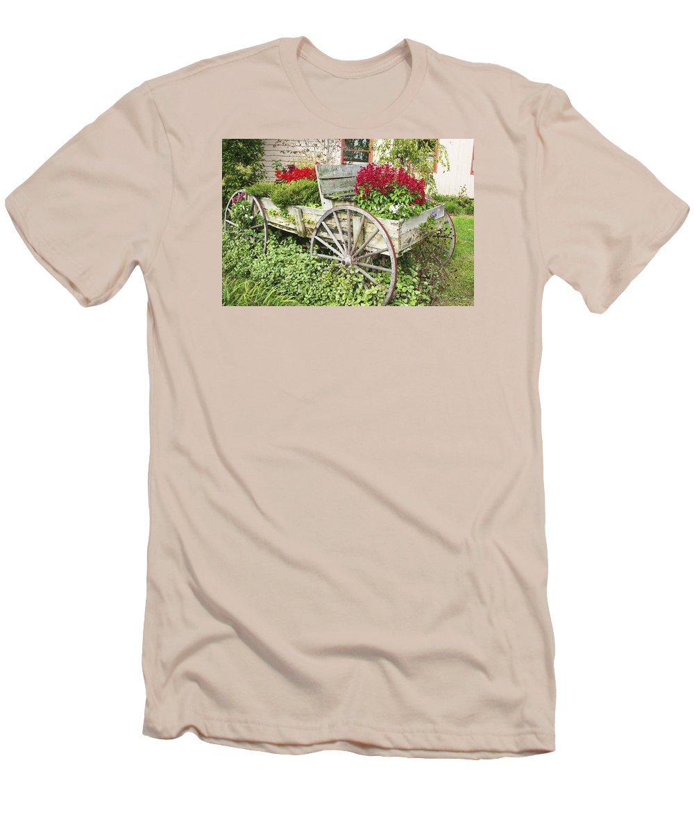 Wagon Men's T-Shirt (Athletic Fit) featuring the photograph Flower Wagon by Margie Wildblood